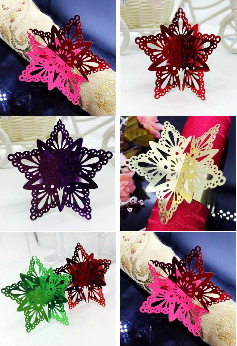 Paper Star Flower Napkin Ring Serviette Buckle Holder For Wedding