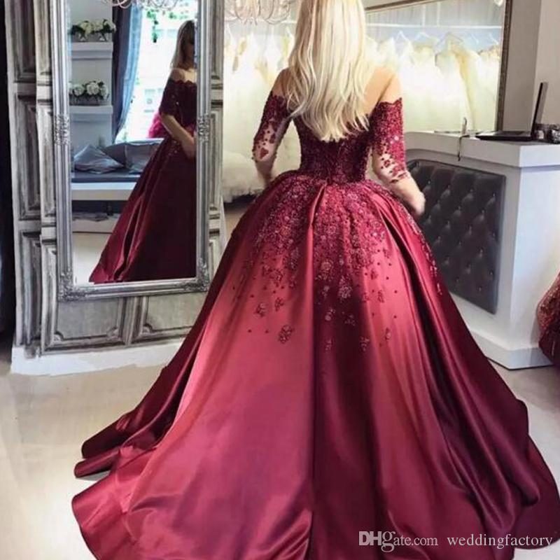 44a3ed9ace7 Luxury Beaded Burgundy Prom Dresses Sheer Jewel Neck Illusion Long Sleeves  Exquisite Handmade Beadswork Ball Gown Formal Dress Evening Gown Hippie Prom  ...