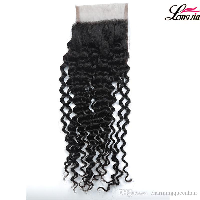 Wholseale Brazilian Deep Curly Hair 3 Bundles With Closure 8A Brazilian Virgin Hair Curly Wave With 4x4 Closure Unprocessed Brazilain Hair