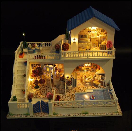 Big Size Villa Doll House Diy Miniature Dollhouse Model Wooden Toy
