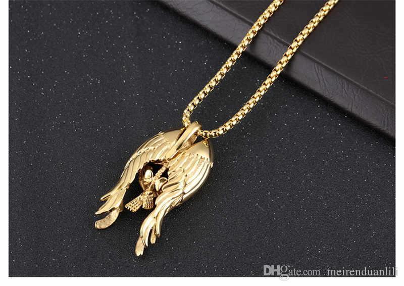 بارد الهيكل العظمي الجناح PendantsNecklaces الهيب هوب مجوهرات الذهب / الفضة / اللون الأسود للرجال الفولاذ المقاوم للصدأ قلادة مجوهرات وصول جديدة فاخرة