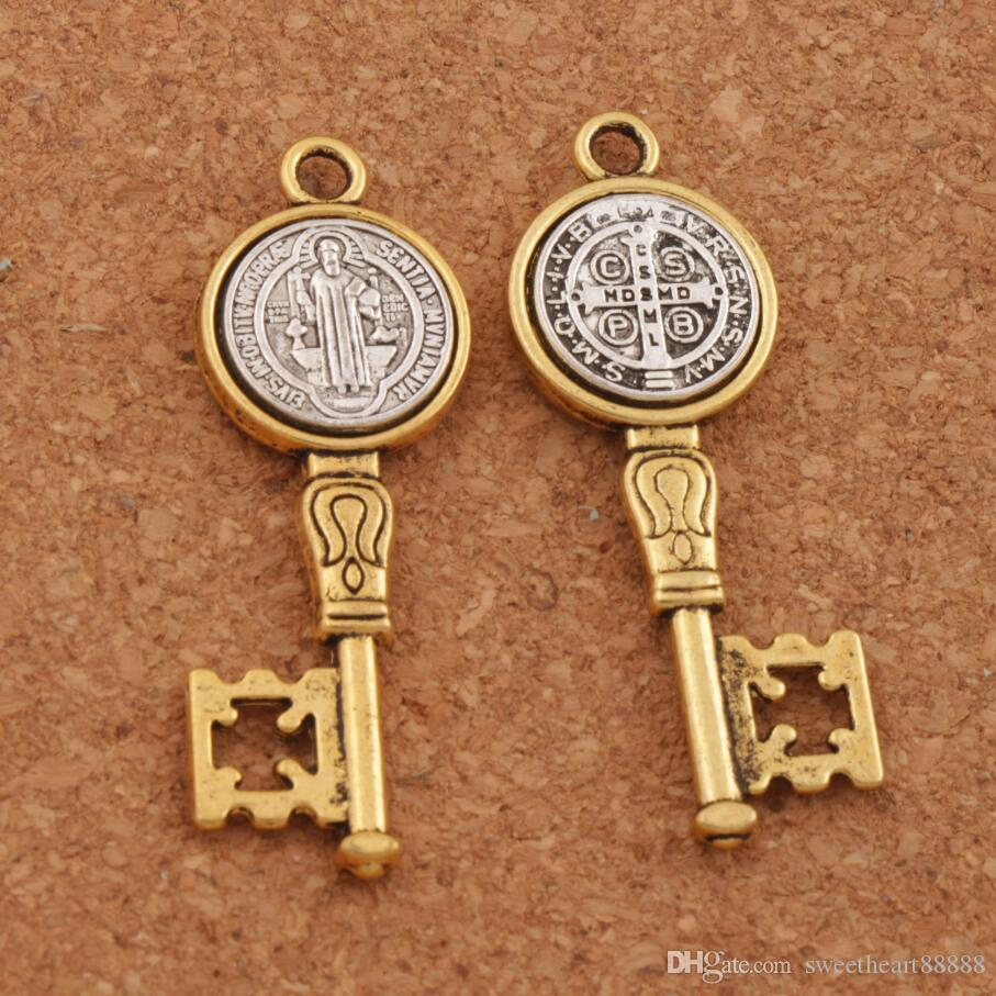 0354e4f77d1 2019 2 Tone Saint St Benedict Medal Cross Key Spacer Charm Beads Pendants  Alloy Handmade Jewelry DIY L1692 From Sweetheart88888, $16.25 | DHgate.Com