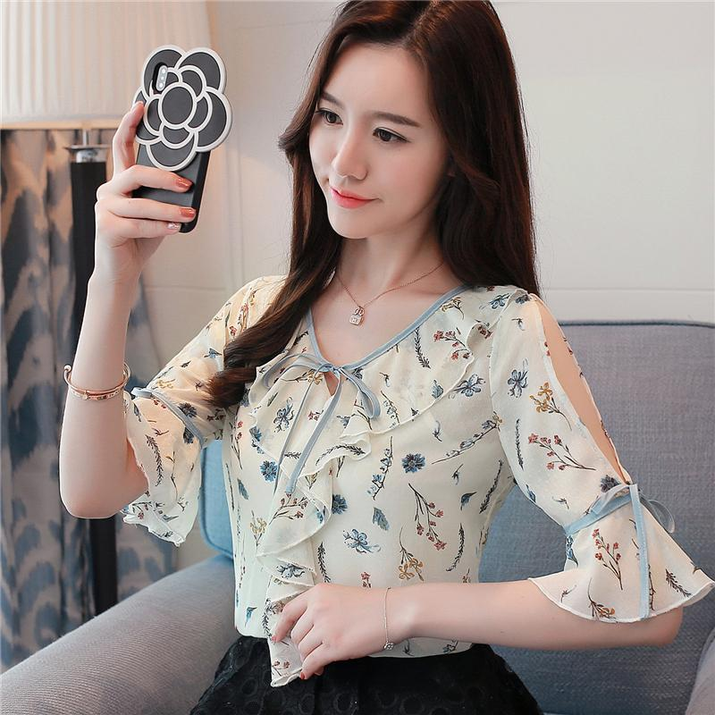 d0fd9fd2ffa8 Summer Sweet Ruffle Chiffon Shirt Bow Floral Printed Shirts Crew Neck Half  Sleeve Short Sleeve Blouse Bare Shoulder Women S Tops And Blouses UK 2019  From ...