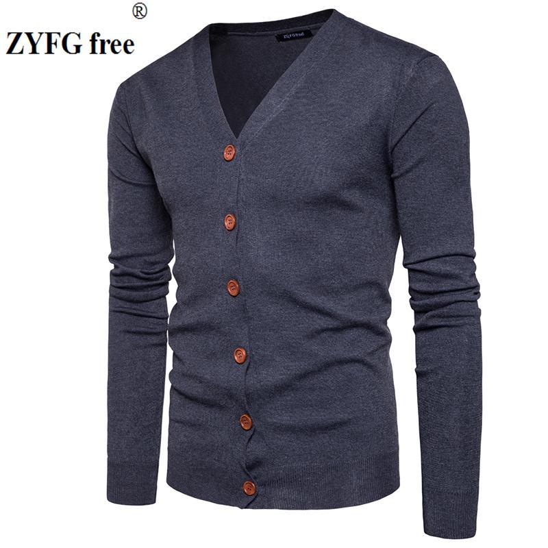 Großhandel Männer Button Strickjacken Pullover 2017 Neue Beiläufige Männer  Solide Pullover V Kragen Dicke Kaschmirpullover Oberbekleidung Kleidung  Größe S ... 3b4939d590