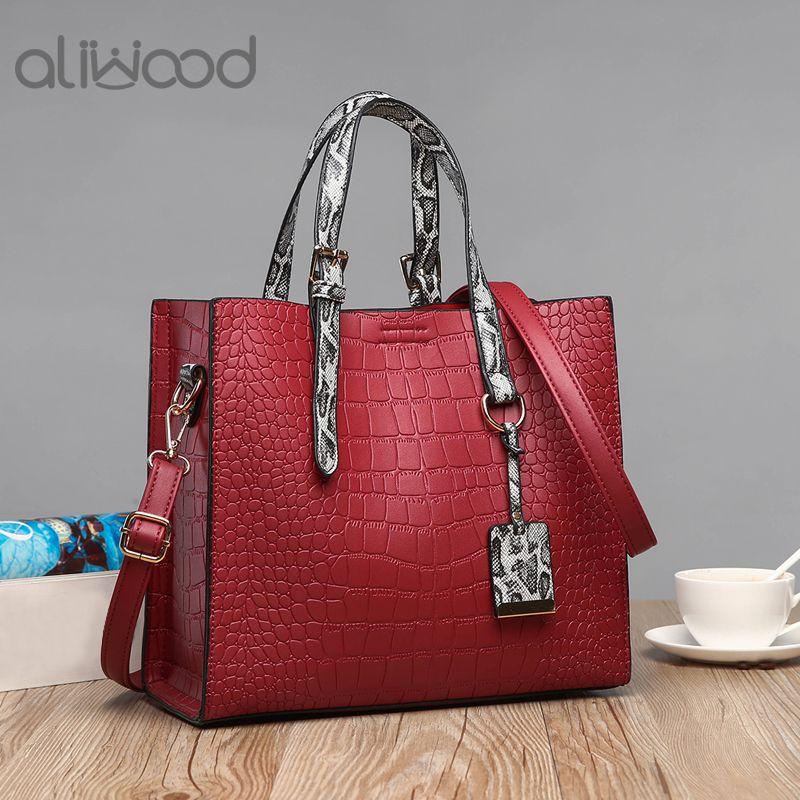 1c9126fb020 aliwood 2018 New Alligator Leather Women's Handbags Snake Texture Tote  Crocodile Ladies Shoulder bag Female Crossbody Bag Bolsas