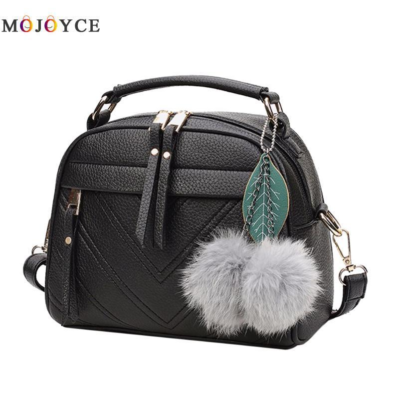 2019 Fashion 2018 Women Bag PU Leather Messenger Bags Crossbody Shoulder  Bags With Ball Bolsa Top Handle Female Handbags Fashion Bags Totes Womens  Bags ... 2de78f5d36583
