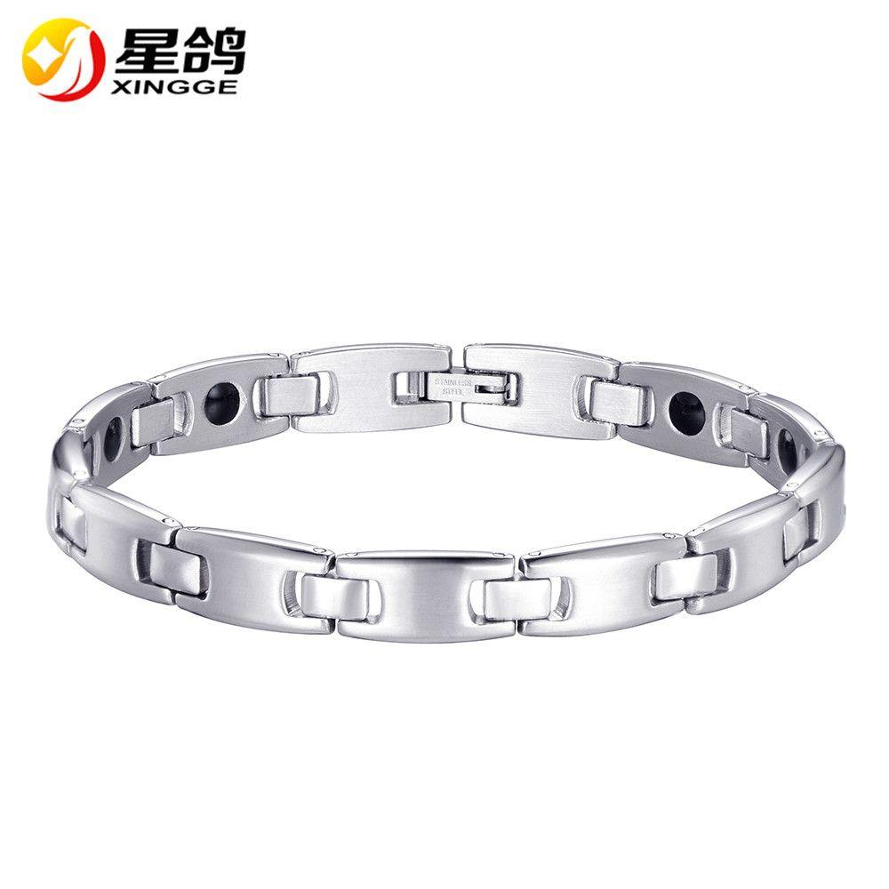 465e605370f55 2019 Silver Color Health Energy Magnetic Bracelet Men Pulseras ...