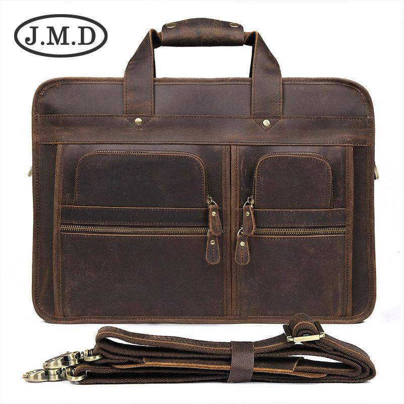 8663bcec2c82 Men Crazy Horse Leather Business Briefcase Laptop Vintage Messenger Bag  Genuine Leather Shoulder Bags Tote Portfolio Satchel Bags Man Bags From  Ultraweek