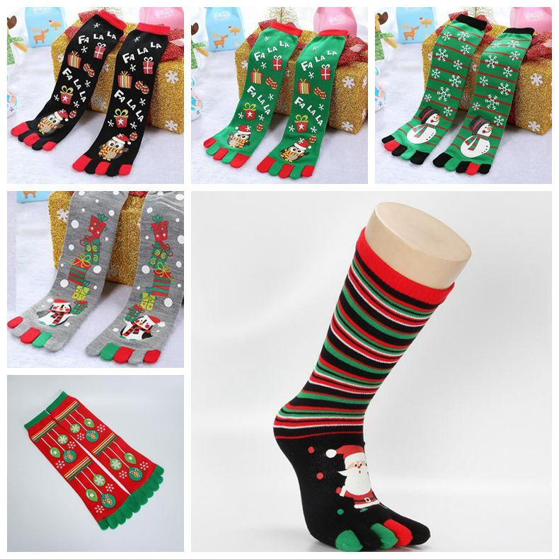 6aab5472a 2019 6 Styles Funny Cartoon Toe Socks Winter Cotton Five Fingers Socks  Casual Soft Christmas Sock Xmas Gifts  Pair CCA10720 From Good clothes