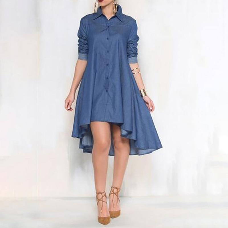 648b92b64c Compre Vestido De Mezclilla De Verano Ropa Elegante De Las Mujeres Jeans  Camisa Vestido Elegante Otoño Flojo Delgado Vaquero Vestidos Ocasionales A   31.42 ...