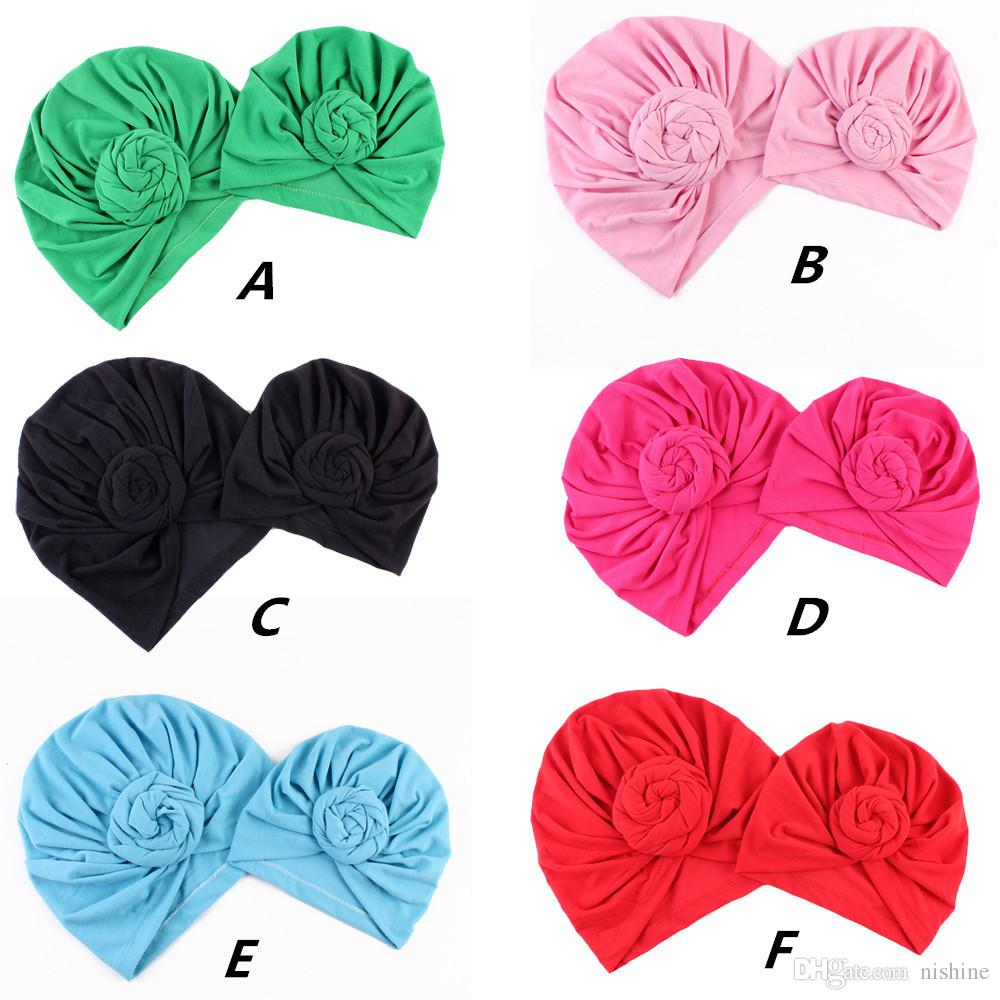 NISHINE Yeni Anne Ve Bana Pamuk Blend Çiçek Şapka Kadın Kapaklar Kızlar Yenidoğan Türban Şapka Büküm Düğüm Şapkalar Saç Aksesuarları