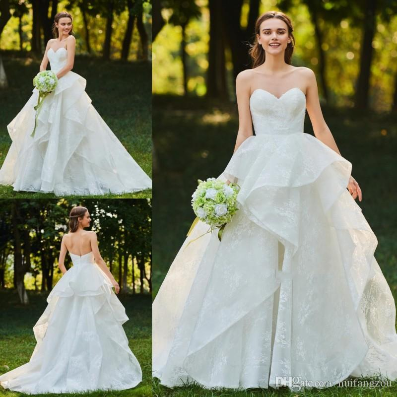Discount 2018 Custom Made Wedding Dresses A Line Cascading Ruffles