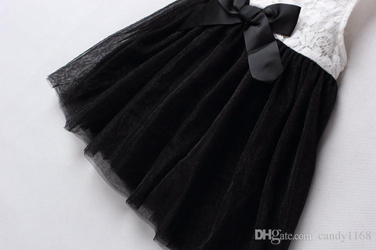 2018 Girls Dress Christmas Kids Clothing Summer sleeveless Lace Tutu Dress Korean Fashion bow dress wholesales
