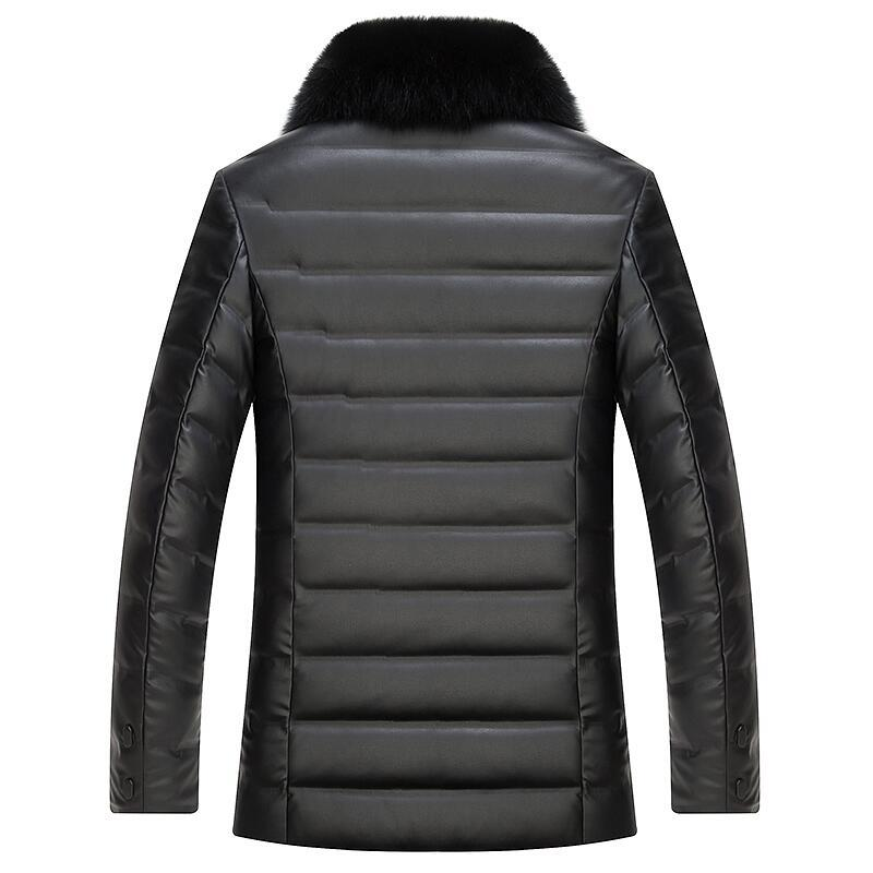 MUDI Men's Down Coat PU Winer Down Jacket 90% White Duck Parka Warm Winter Jacket With Big Fox Real Fur Windproof Jacket 5XL 6XL