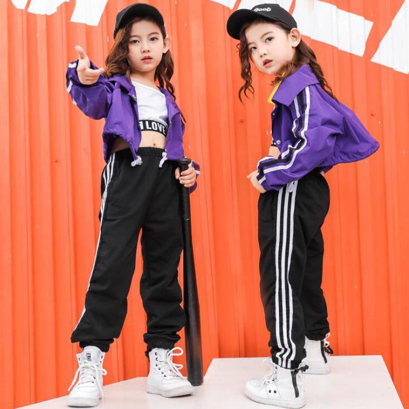 Compre Camisa De Sudadera Recortada Para Niños Pantalones De Chándal Ropa  De Hip Hop Trajes Traje De Baile De Jazz Fiesta De Baile Para Chicas Ropa  De Calle ... 4d5339d0171