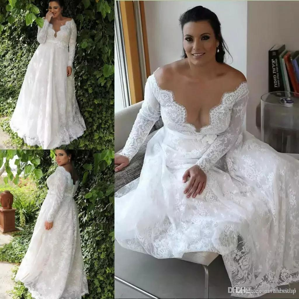 Discount Garden A Line Empire Waist Lace Plus Size Wedding Dress With Long  Sleeves Sexy Long Wedding Dress For Plus Size Wedding Wedding Shops Wedding  ... 25e371d0281b