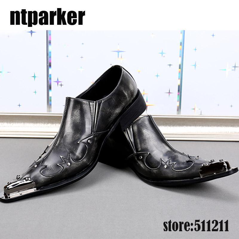 efa9e1d9137 Western Style Men Shoes Sepatu Pria Leather Business Party Shoes For Men  Iron Pointed Toe Black Grey Men Wedding Shoes! Mens Dress Shoes Prom Shoes  From ...