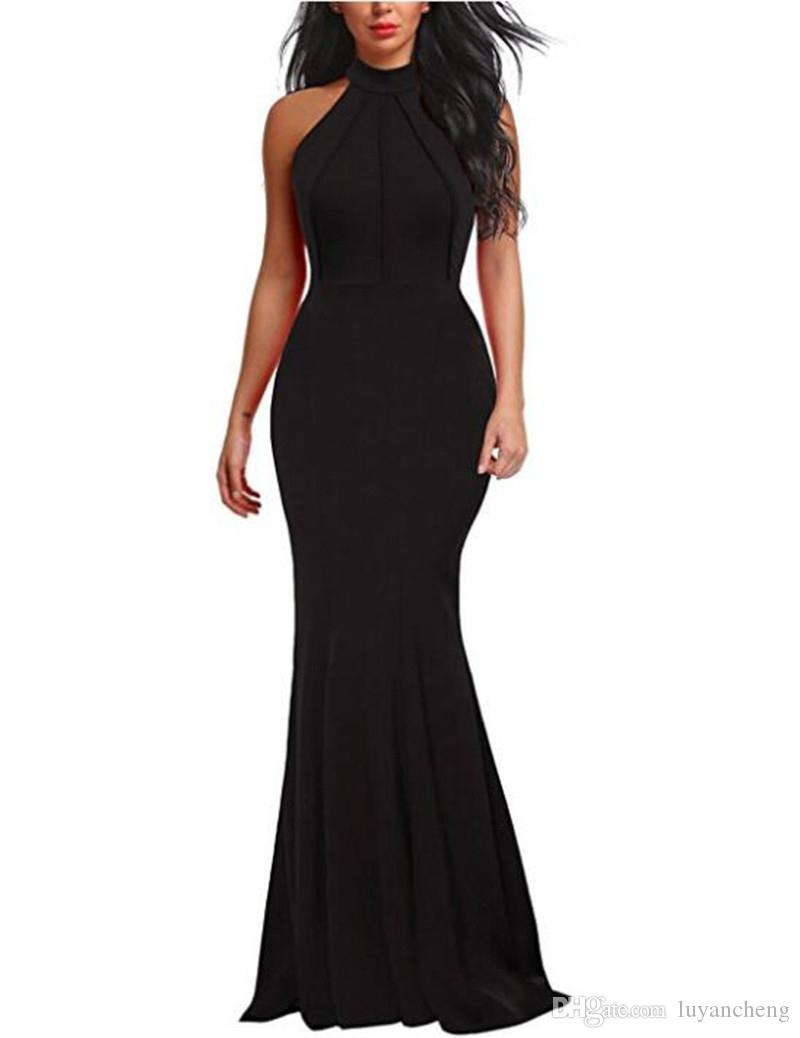 Fashion Women Bodycon Mermaid Party Dresses Sexy Halter Burgundy Elastic Satin Simple Women Dress Cheaper Homecoming Gowns 2018 Plus Size