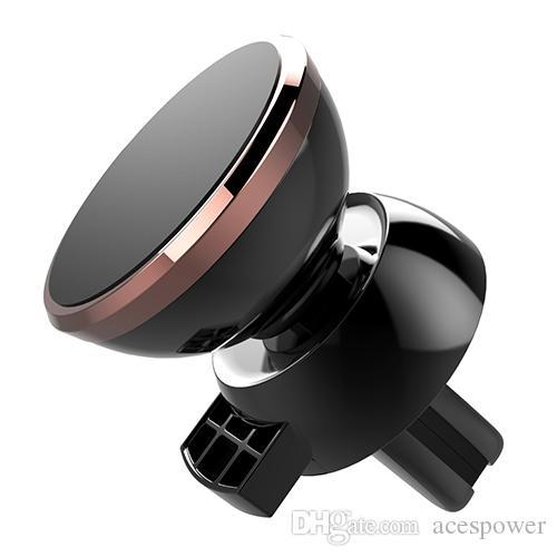 أحدث قوي المغناطيسي حامل الهاتف السيارات تنفيس الهواء جبل 360 درجة دوران العالمي مع الهاتف المحمول حزمة لل