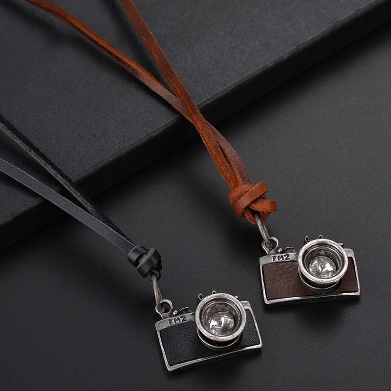 d2c71a67a8b75 Vintage Fashion Camera Pendant Necklace Retro Black Brown Color Leather  Rope Necklace For Women Men Sweater Jewelry Accessories