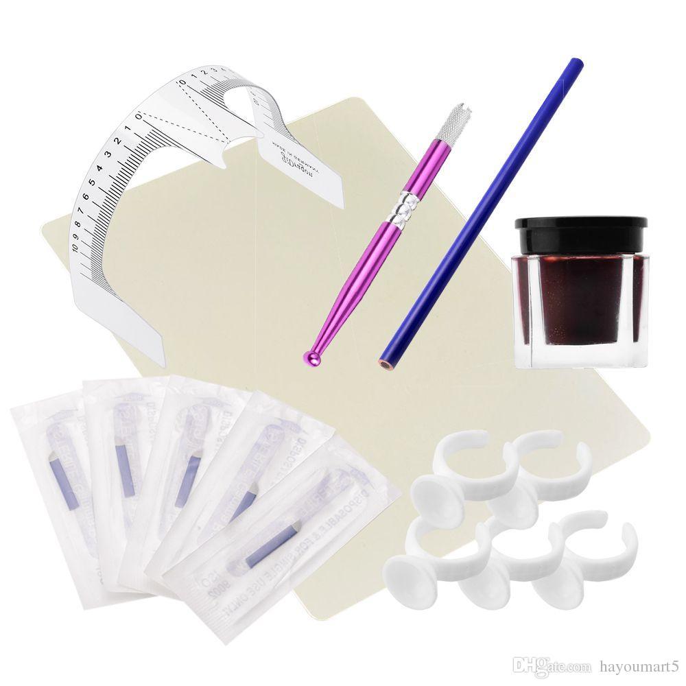 1 Satz Praktische Make-Up Microblading Augenbrauen Tattoo Kits Stift Nadel Paste Haut Lineal Schönheit Mädchen Ideal Für Anfänger körperkunst