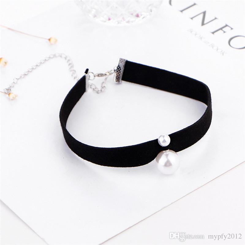 Neue Mode Leder Lätzchen Kette Double Side Perle Halsketten Für Frauen Retro Choker Kragen Halskette Schmuck HZ