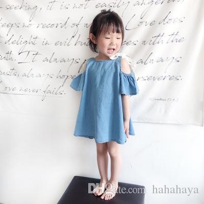 67901e067 Compre Vestidos Para Niñas 2018 Verano Nuevo Ropa Para Niños Niños Coreanos  Falda De Mezclilla Sin Tirantes Vestido De Princesa Infantil A $35.18 Del  ...