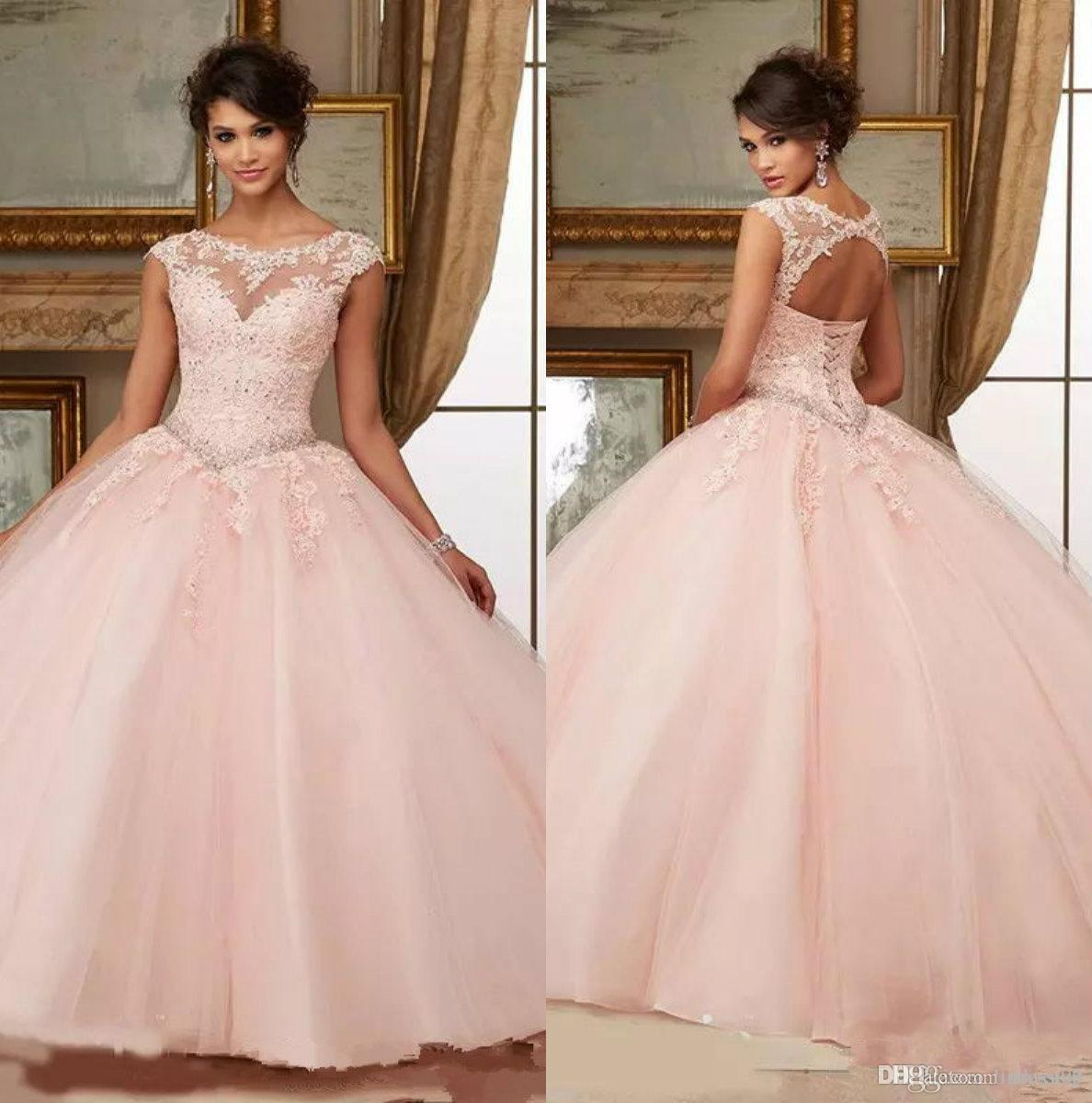 8afb3352b2a Pink Beaded 2018 Prom Dress Sheer High Neck Sweet 16 Masquerad ...