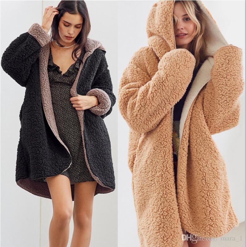 d18e4583a women winter long coats sherpa reversible hooded Cardigan fleece warm  designer winter outerwear flannel overcoat outer coat greatcoat cheap