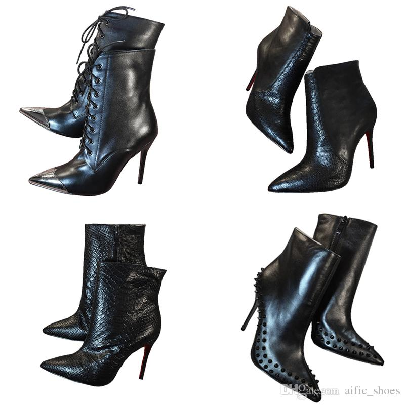b19d4591551 Luxury Black High Heels Leather With Spikes Pointed Toes Womens Ankle Boots