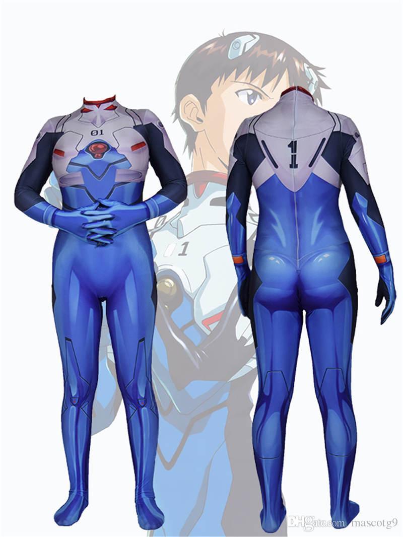 Drop Ship EVA Ikari Shinji Cosplay Costume Anime Fullbody Zentai Suit Skinny Bodysuit Neon Genesis Evangelion One Piece Jumpsuit