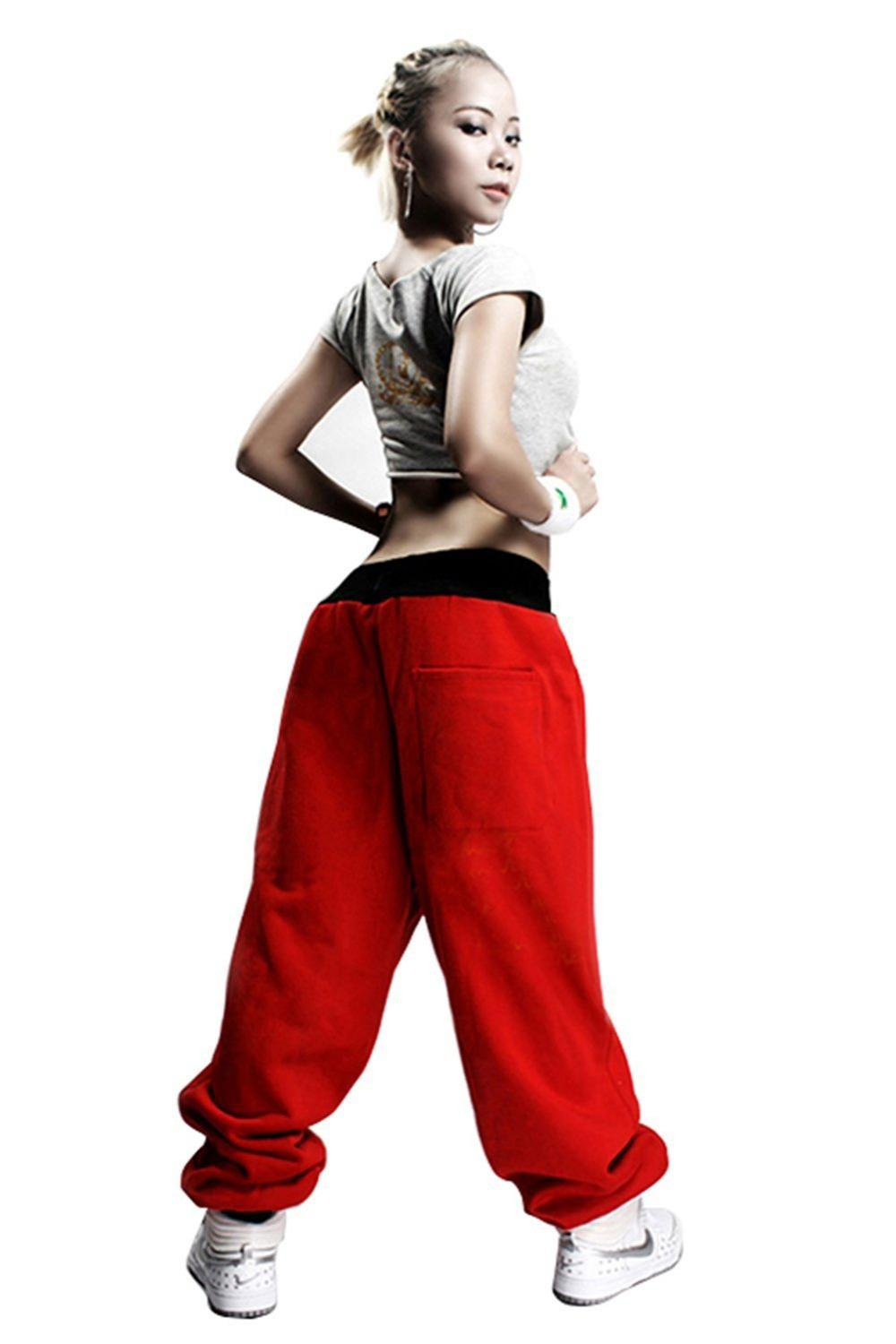 Mens Womens Pant with Embroidery Decor Harem Baggy Hip Hop Dance Sweat Pants Trousers Slacks