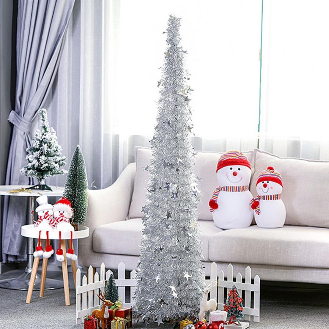 Collapsible Tinsel Christmas Tree Venue Ornaments Stand Home Mall ...