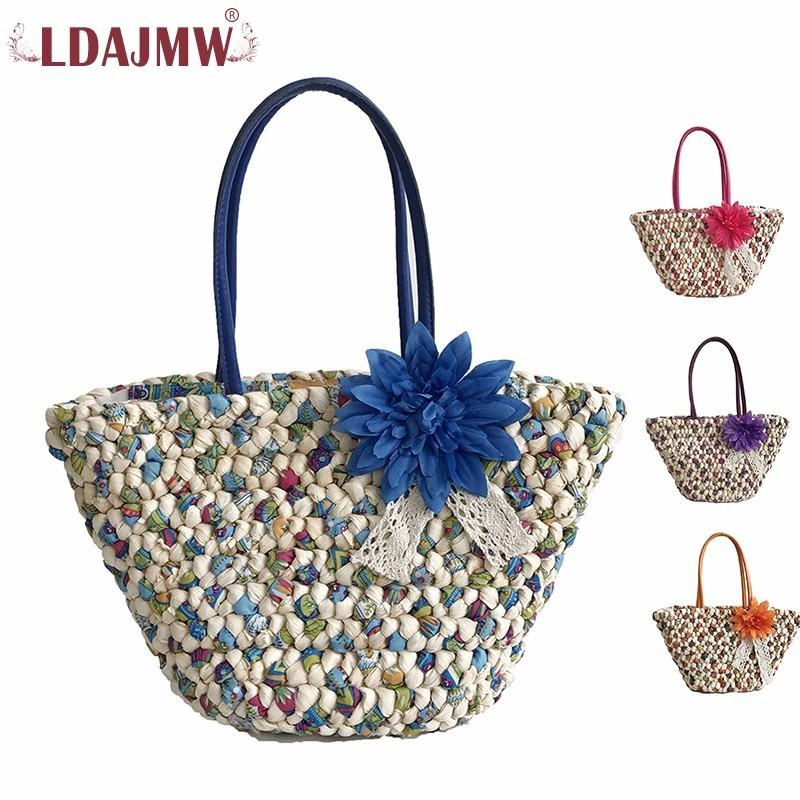 wholesale 2018 Woven Beach Bags Women Straw Handbags Travel Totes Summer Fashion Zipper Flower Ladies Hand Bags Shoulder Bag Purses