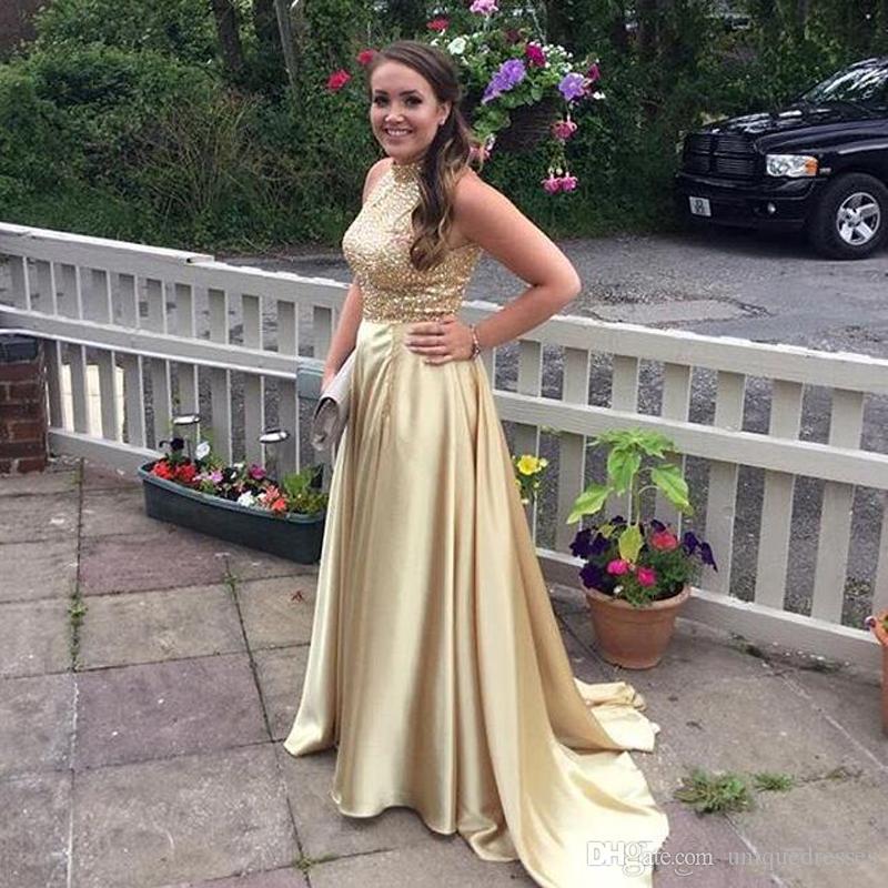 Modest Real Image Light Gold Bling Bling Vestidos de baile 2018 Cuello alto Rebordear una línea Vestidos de fiesta de noche