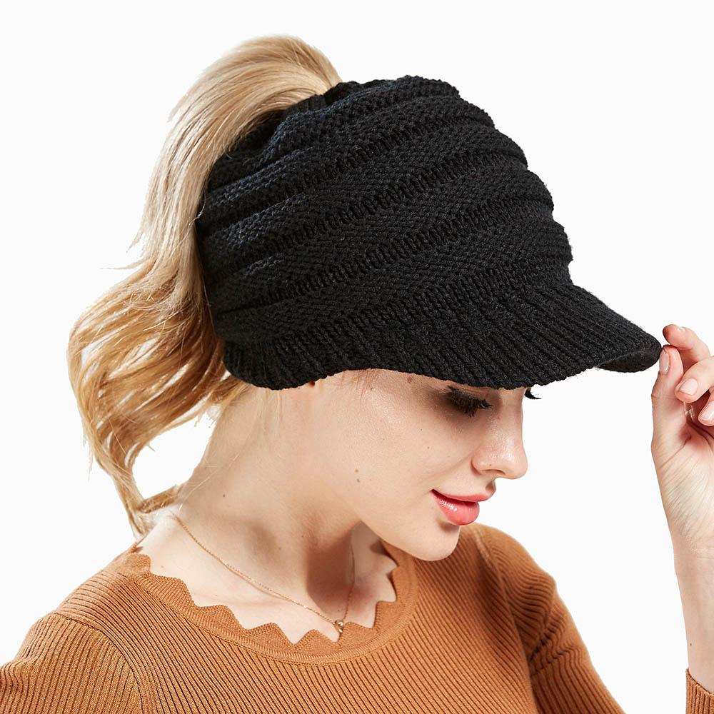 6c9b611eb8f Ponytail Caps Women Girl s Winter Warm Knit Thicken Hat Wool Snow Ski Caps  With Visor New Design Hot Sale AA10047 Men Hats Zephyr Hats From Shanjumou