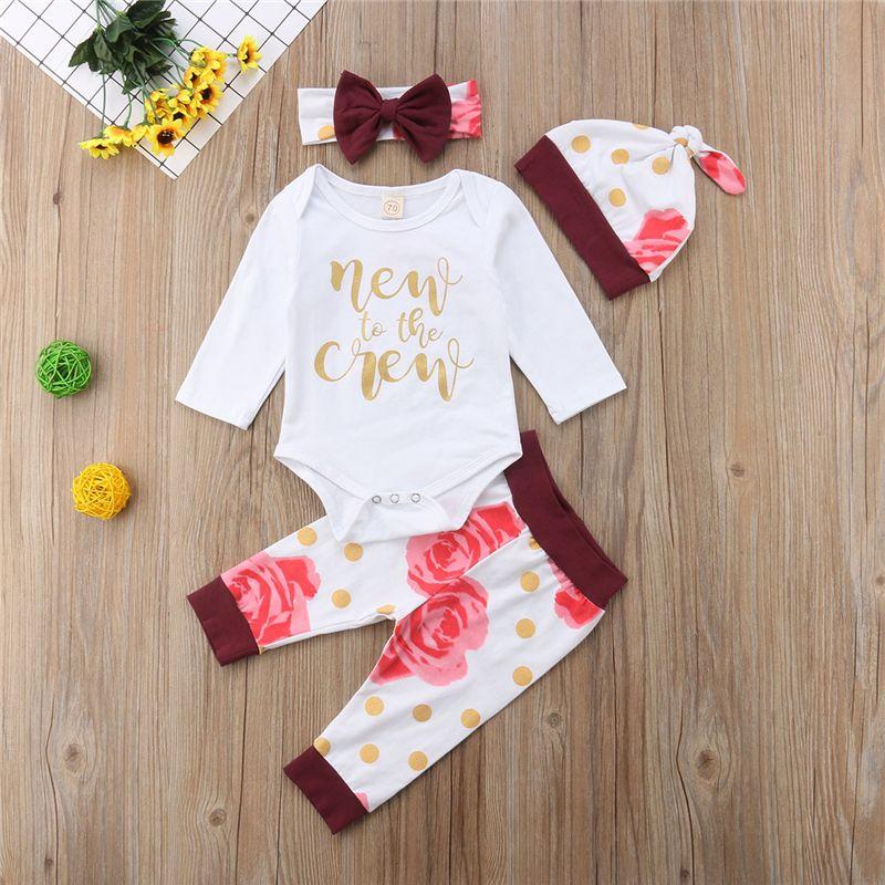 326478df4300 2018 Spring Autumn Cute Newborn Baby Girls Floral Tops Romper Pants ...
