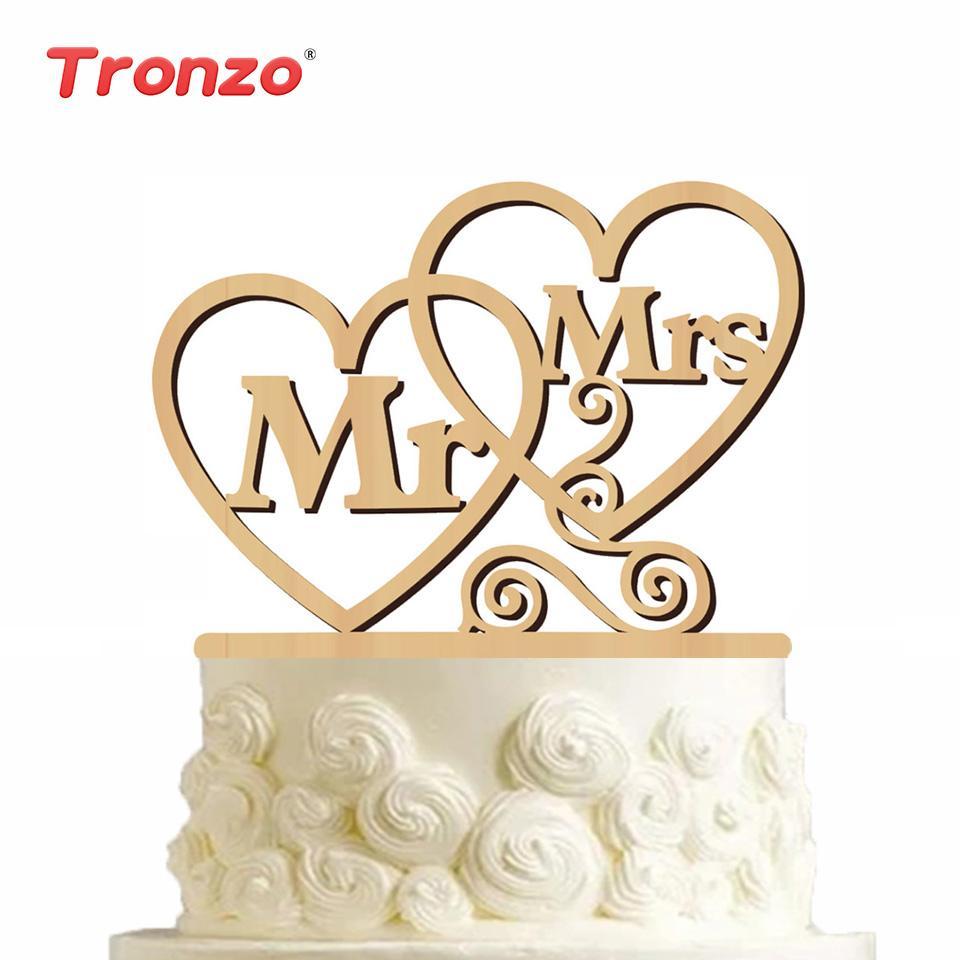 2019 Tronzo Wedding Cake Topper Mr Mrs Heart Letter Wooden Topper
