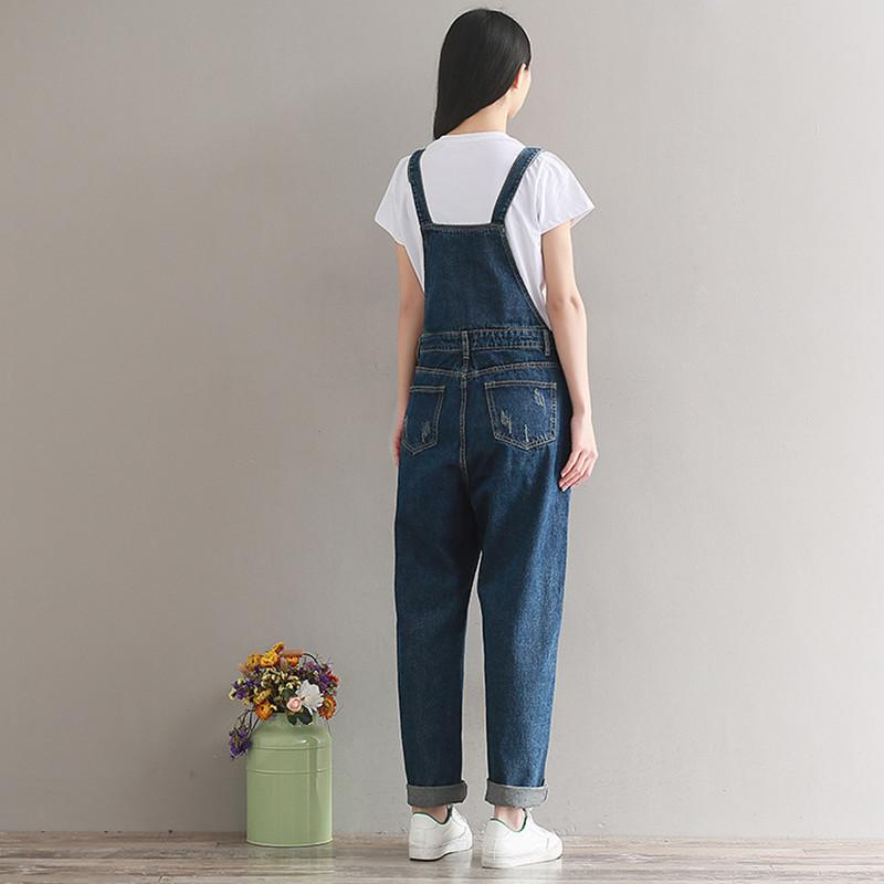 Women Denim Jumpsuit 2018 Bib Jeans Overalls Casual Basic Long Trousers Large Size Leisure Loose Pants Wide Leg Rompers ZL6720