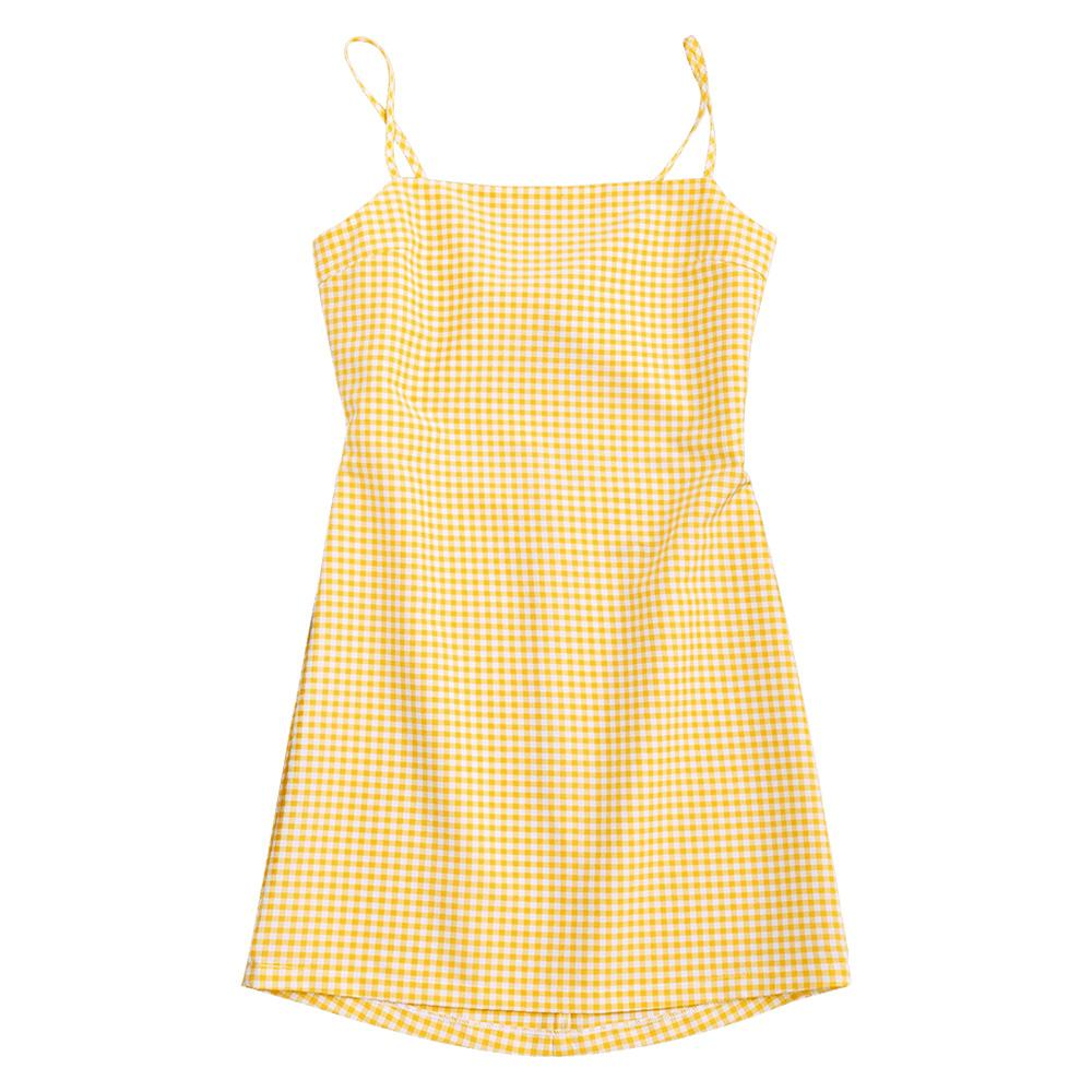 ZAFUL Cute Women Sundress Sleeveless Spaghetti Strap Summer Dress Bowknot Cut Out Yellow Checked Casual Mini Dress Vestidos 2018