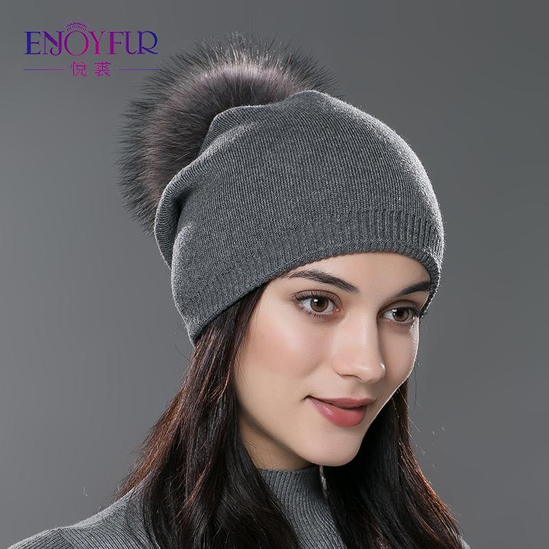 ENJOYFUR Winter Women Real Fur Pom Pom Hats Wool Knitted Thick Warm ... 93f59ad3181