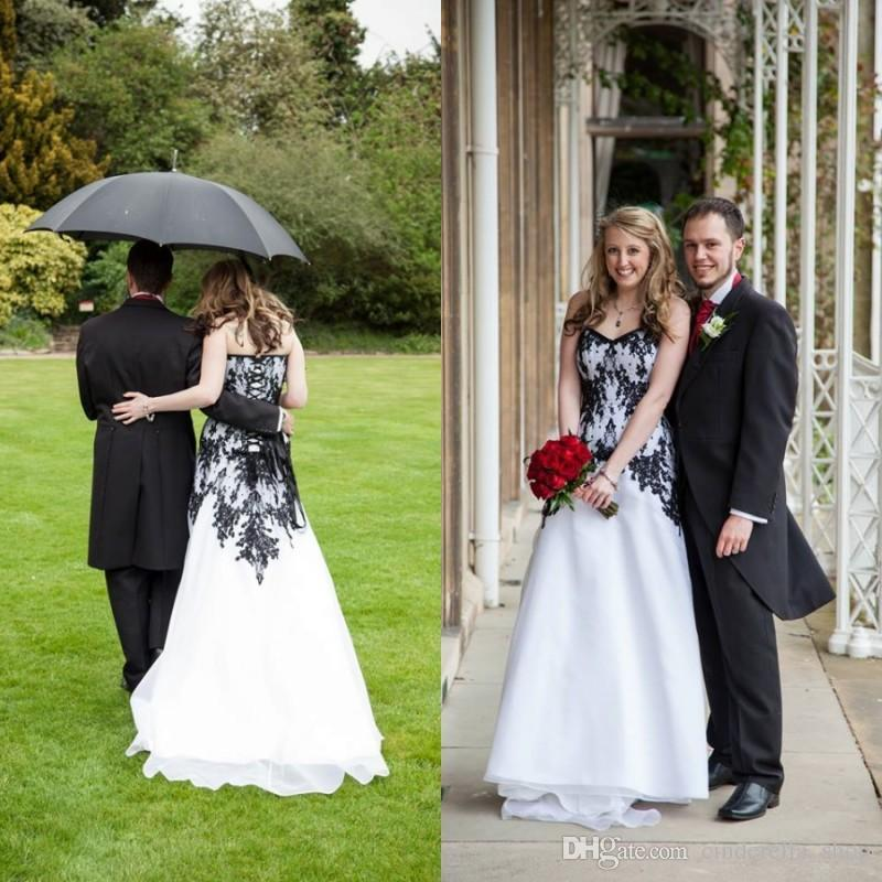 cf6918c919 Discount 2018 Gothic White Wedding Dress With Black Lace Sweet Heart  Backless Sweep Train Organza Appliques Garden Beach Country Bridal Gowns  Cheap Modest ...