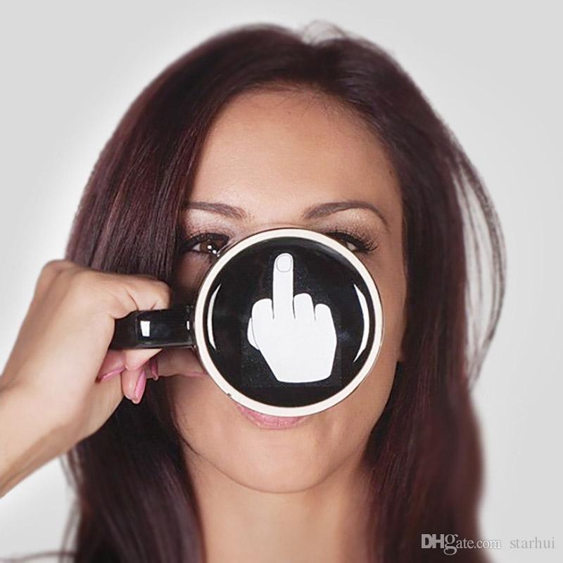 Kreativer haben einen schönen Tag Keramik Kaffeetassen 301-400ml Mittelfinger Lustige Tasse Milch Tee Trinkbecher Geschenke WX9-240