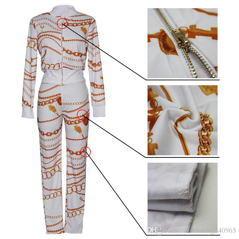 New arrive best quality casual two piece set women zip front full sleeve jacket and sexy funny chain print pant suit set