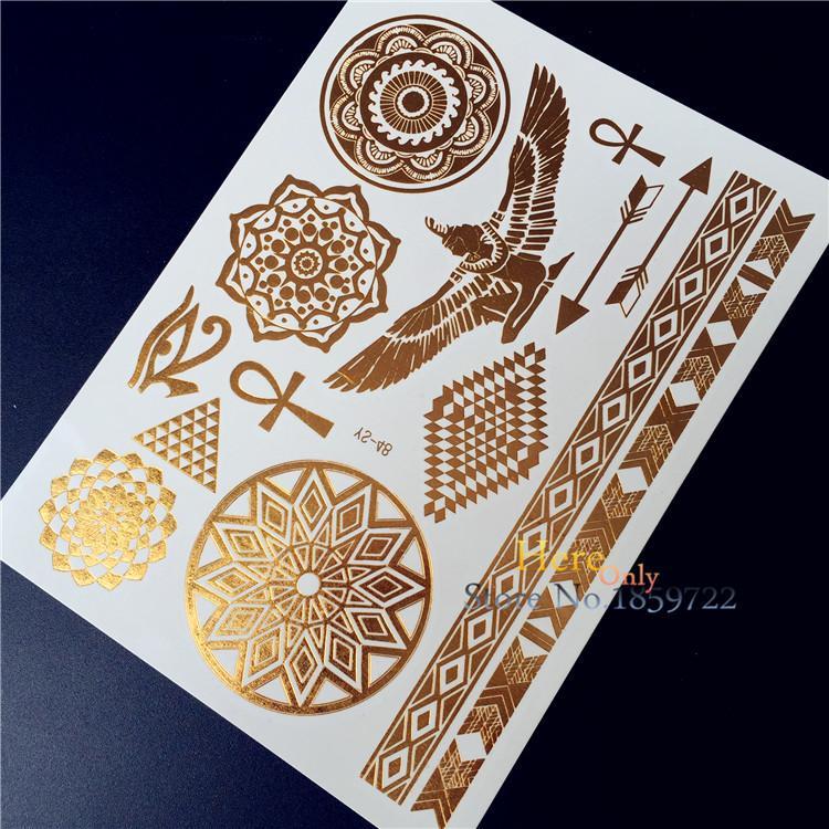 angel wing golden flower bracelets design Fashion Indian Mehndi Sexy women body art Paint Taty HYS-48 Temporary Tattoo Stickers
