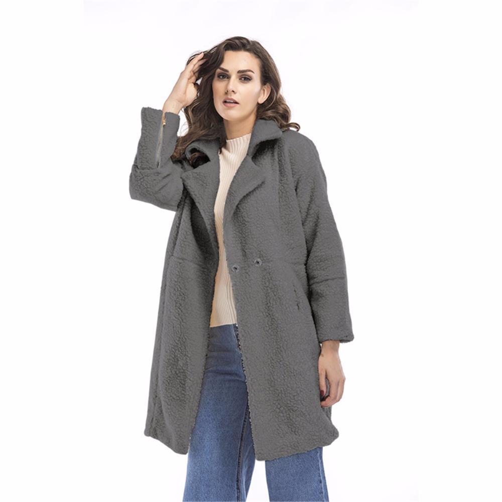 Especially long faux fur coat for women Slim female jacket coat warm Windbreaker Outerwear Autumn winter trenchcoat Wool Blends
