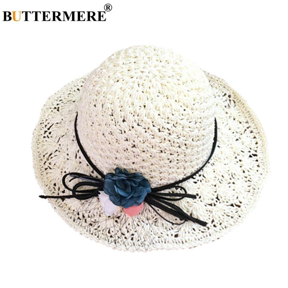 c681062bb142f BUTTERMERE Women Elegant Straw Hats Flower Wide Brim Casual Summer Hats  Foldable Bow Tie Korean Style Vintage Beach Hat Lady Bucket Hats For Men Womens  Hats ...