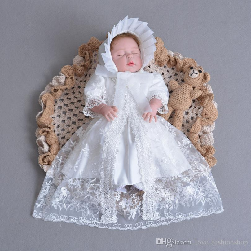 9b0450b0f 2019 Baby Girl Baptism Gown Christening Dress Big Bow Lace Embroidered  Dresses With Cardigan And Cap Kids White Birthday Wedding Dress Cosplay  From ...