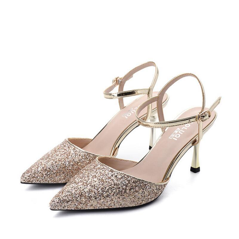 57e101dba78 women gold/silver glitter sandals pointed toe metal high heels summer party  shoes sequined bling gladiator sandalias women y528