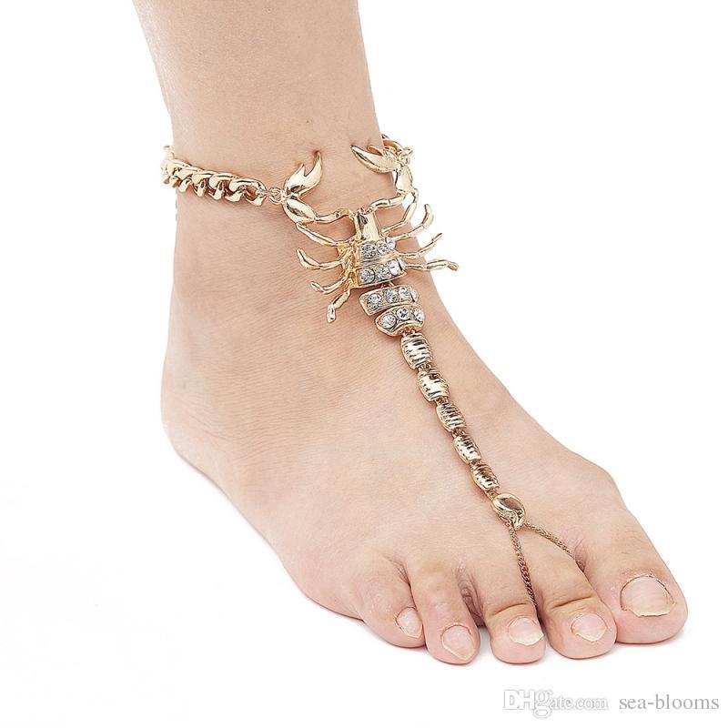 Avrupa Moda Ayakkabı Dekor Bildirimi Elmas Akrep Alaşım Halhal Bilezik Plaj Halhal Zincir Kristal Yalınayak Takı Ücretsiz DHL H16R